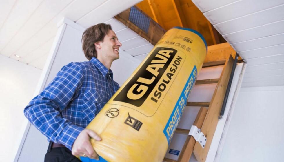 ISOLASJON: Å isolere på nytt kan være dyrt, men vil gi lavere strømforbruk på sikt. Foto: Glava.