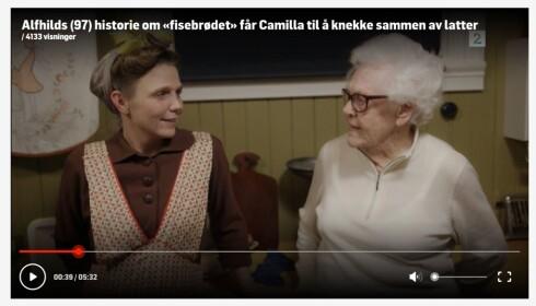 FØR I TIDEN: Alfhild Viul (98) har opplevd store endringer gjennom et langt liv, for eksempel hvordan ta vare på mat på best mulig måte. Dette fortalte hun også om i TV2-programmet «Alle Tiders Mat» i fjor. Foto: Skjermdump TV2.