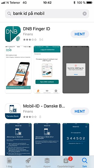 APP STORE: Last ned bank ID for iPhone via App Store. Foto: Skjermdump App Store.