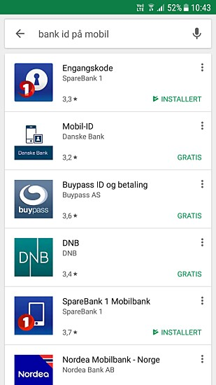 PLAY BUTIKK: Last ned bank ID for Android via Play butikk. Foto: Skjermdump Play butikk.