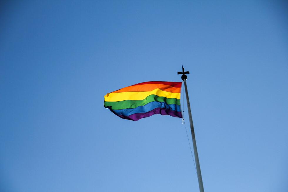FLAGGET: Pride-flagget vaiet i vinden over Høyres hus. Foto: Camilla Hjelmeseth