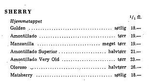 FLERE SHERRY Å VELGE MELLOM: Her er bare en tredjedel av sherryene å få kjøpt på Vinmonopolet i 1960. Foto: Vinmonopolet