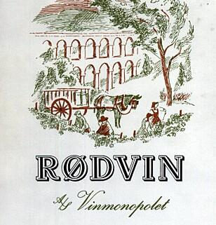 """BESTSELGER: Slik så etiketten til """"Rødvin"""" ut på 80-tallet."""