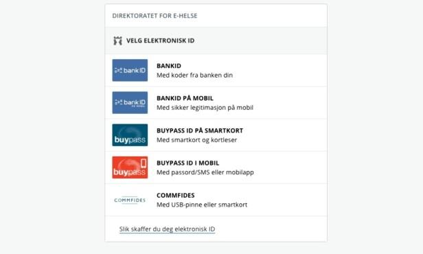 INNLOGGING: For å kunne sjekke egenandelene dine på nett, må du logge deg inn med Bank-id eller lignende. Foto: Skjermdump / helsenorge.no