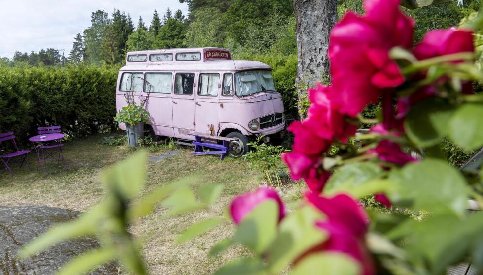 «TRIBUTE»: Den rosa vanen er ofte leid ut på Valentines Day. - Vanen er en «tribute» til alle engelske bed and breakfasts, sier Bente Brenna (66). FOTO: Gorm Kallestad/NTB scanpix