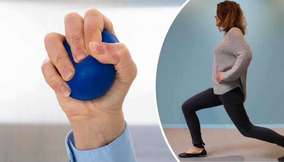 ØVELSER: Hofter, knær og fingre er problemområder for mange. Her er øvelsene man bør gjøre for å vedlikeholde leddene. Foto: Shutterstock/ Camilla Hjelmeseth.