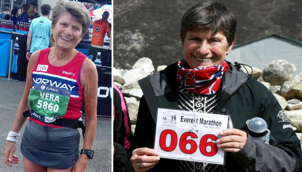 149 MARATON: Vera Nystad (72) har så langt løpt 149 maraton, blant annet i Barcelona (t.v) og på Mount Everest. Foto: Privat