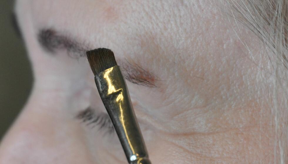 KOST: Bruk kost til å fargelegge brynene. Foto: Jartrud Høstmælingen