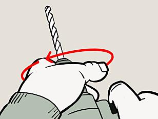 LÅSE: Vri til med håndmakt når boret skal låses fast. Illustrasjon: Øivind Lie-Jacobsen