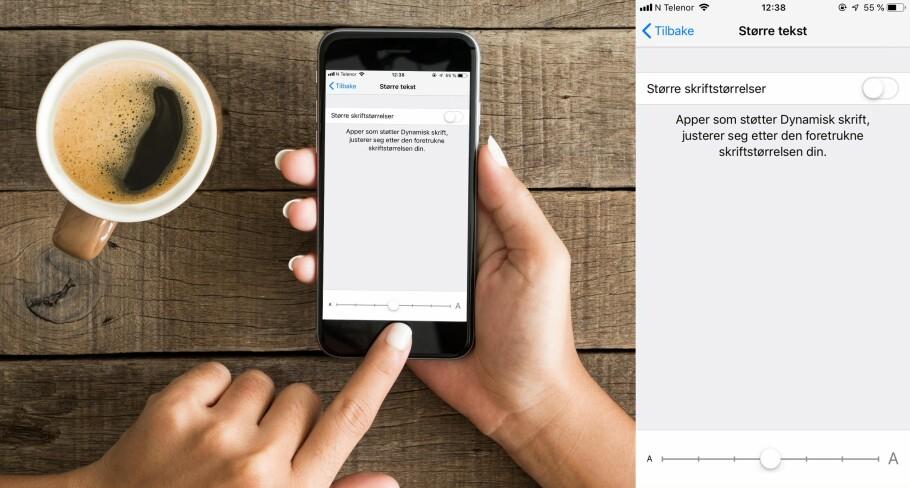 STØRRE TEKST: Du kan forstørre teksten på iPhone ved å dra den hvite knappen nederst bortover skalaen. Foto: Shutterstock/ Skjermdump