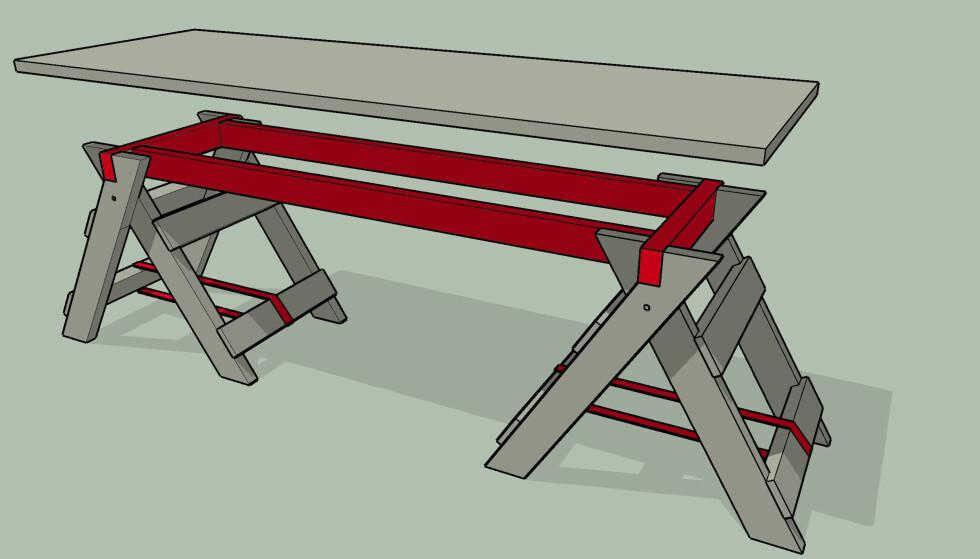 STØDIG BENK DU LAGER SELV: Platen skrus til rammen. Spennbåndene nederst på bukkene gir skikkelig klem på rammen slik at den sitter godt fast. Illustrasjon: Øivind Lie-Jacobsen
