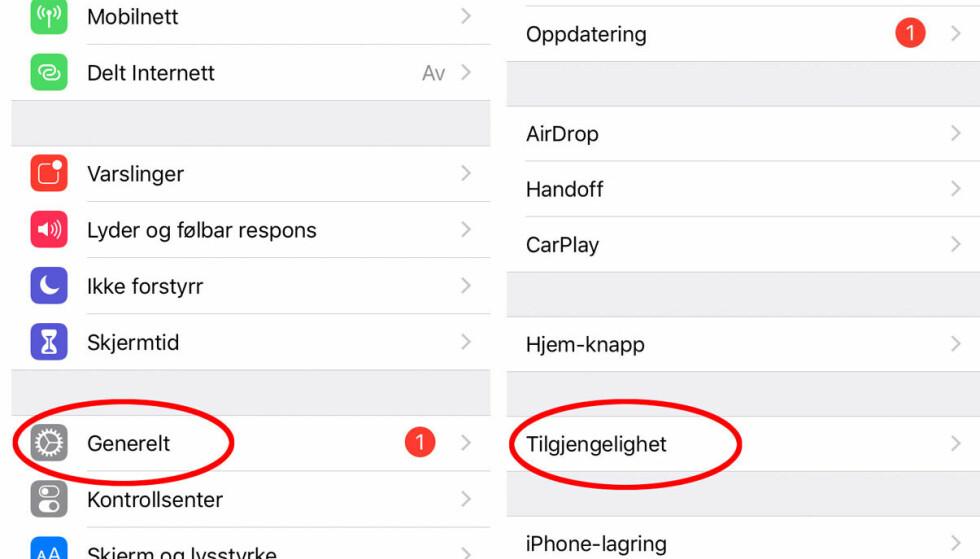 Gå til Innstillinger og velg Generelt --> Tilgjengelighet for å endre tekststørrelse.