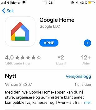 Google Home appen dukker opp øverst når man søker på den. Foto: Skjermdump