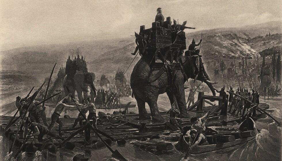 Hannibal fraktet elefantene sine langt. Her krysser de den europeiske elven Rhône. Foto: Henri Motte/ Wikimedia Commons