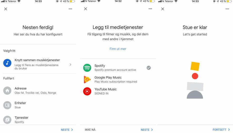 Skal du høre på musikk, er det enklest å koble Google til Spotify-kontoen din. Foto: Skjermdump