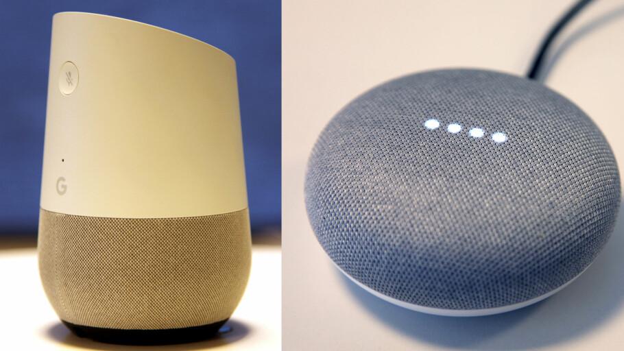 JULEGAVE: Google Home og Google Home Mini er spådd til å bli årets store julegavehit. Foto: Camilla Hjelmeseth/ Lisa M. Wisløff