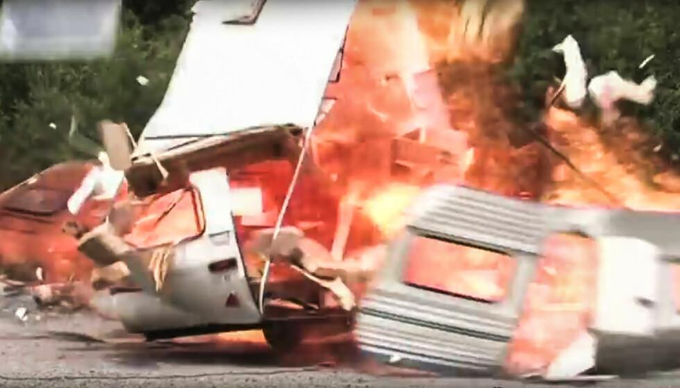 EKSPLOSJON: Gass som lekker ut av et anlegg trenger bare en liten gnist for å eksplodere. Foto: Youtube/NewsWire