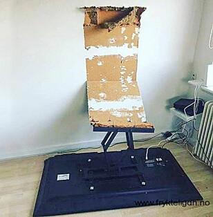 DÅRLIG FESTET: Riktige festemidler er nøkkelen når noe tungt skal opp på veggen. Foto: Fryktelig dårlig håndverk