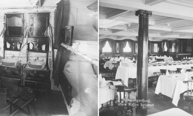 1. KLASSE: Bildet viser lugar og spisesal for dem som reiste på 1. klasse. Foto: Anders B. Wilse / Nasjonalbiblioteket