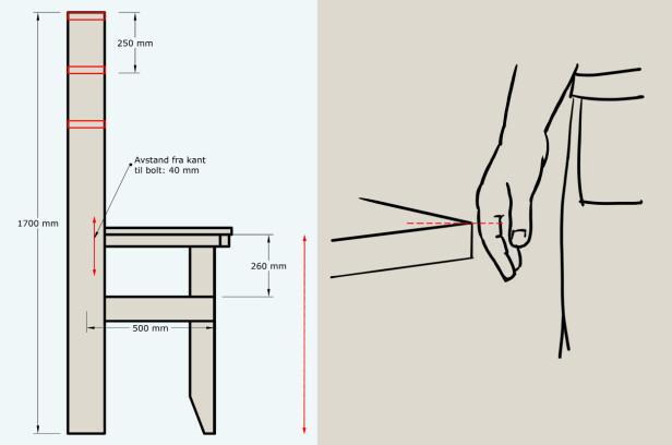 ARBEIDSBENK: Bredden på benken kan tilpasses plassen du har til rådighet. Denne benken er 1572 mm bred. Det betyr at bordplaten og hyllene har en bredde på 1500 mm. Det er lurt å tilpasse bordplaten til din egen høyde. Ideell arbeidshøyde ser du på illustrasjonen til høyre. Når du har funnet riktig høyde tilpasser du lengden på bena, og plasseringen av bolten som hengsler bordet. Illustrasjon: Øivind Lie-Jacobsen