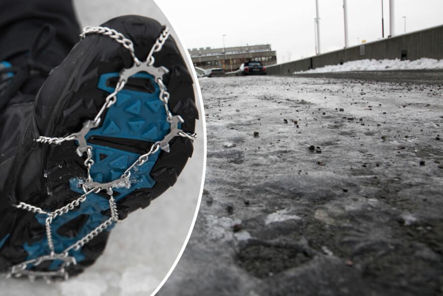 SKO DEG: Unngå å gi deg selv det glatte lag på isen i vinter - kjøp gode sko eller bruk brodder, oppfordrer ekspertene. Foto: NTB Scanpix / Lisa Wisløff
