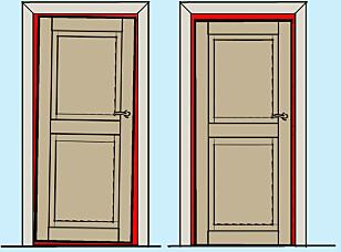 FINN FEILEN: Glipen skal ha jevn tykkelse rundt hele dørbladet. Døren til høyre henger mot karmen og det blir slitemerker oppe til høyre og nede til venstre. Døren til venstre henger for lavt, da blir det slitemerker på midten eller hele terskelen. Illustrasjon: Øivind Lie-Jacobsen