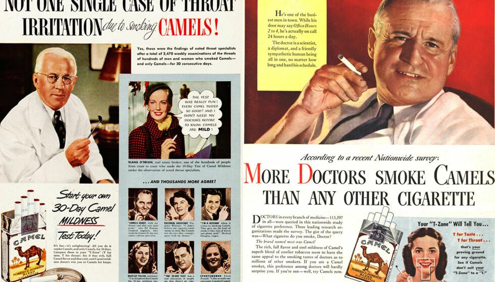 RØYKENDE LEGER: Både leger og skuespillere kledd ut som leger reklamerte for tobakk før i tiden.