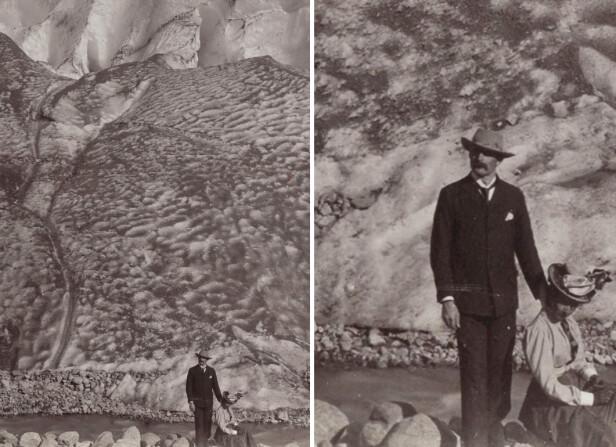 PENT KLEDD: En nærmere titt på dette paret foran Bøyumbreen i Sogndal i år 1900, viser hvor staselig folk var kledd i fjellet. Fotograf ukjent / bilde fra Nasjonalbiblioteket