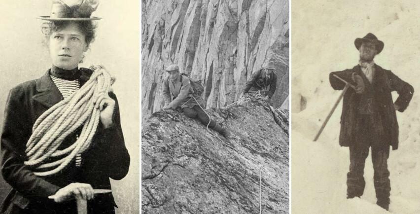 KLATRET MED STIL: Kvinnelig klatrepioner Therese Berthau (venstre), Arne Næss på Stetind (i midten), og en av Norges første klatrepionerer, Mathias Soggermoen, avbildet på Storen. Alle er det man kan kalle pent antrukket. Foto: Ukjent / Nasjonalbiblioteket / Carl Christian Hall