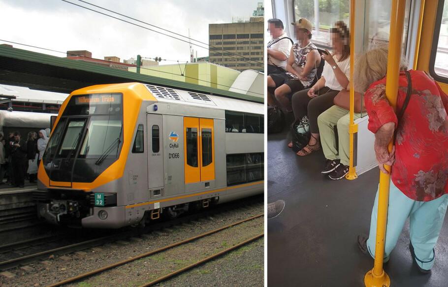 MÅTTE STÅ: Bildet av den eldre damen som ikke har fått sitteplass på et lokaltog i Sydney, foran et par unge passasjerer, har satt fyr på kommentarfeltet på Facebook. Foto: Wikipedia / Facebook