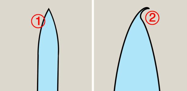 KNIVEGG: En egg som er konveks holder seg skarp lenger (1) Når kniven blir sløv er det gjerne fordi eggen bøyer seg til en av sidene. Når du skjerper kniven retter du eggen opp igjen. Illustrasjon: Øivind Lie-Jacobsen