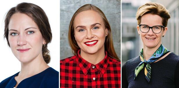 SAMSTEMTE: Jeanette Sandmo, Lauga Oskarsdottir og Magnvor Lunåshaug mener det er fem viktige ting å tenke på når du skal starte bedrift. Foto: Innovasjon Norge, Privat, NHO