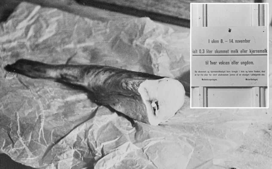 FISK for 4: Dette bildet viser en månedsrasjon frossen torsk for 4 personer under krigen. Innfelt et skilt for melkerasjon. Foto: Digitalarkivet / Riksarkivet