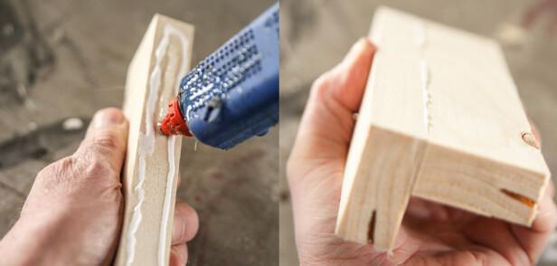 Tvinge: Hvis du mangler tvinger eller det er biter som er vanskelige å presse sammen er smeltelim tingen. Foto: Øivind Lie-Jacobsen