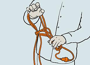 Hekle2: Træ hånden igjennom, ta tak i kabelen og fortsett til hele kabelen er heklet. Illustrasjon: Øivind Lie-Jacobsen