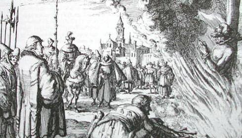 BRENT PÅ BÅLET: Anne Pedersdotter ble brent levende for å drevet med trolldom. Foto: Wikipedia.