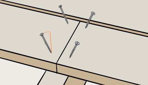 Stikkskru: Sett skruene med en vinkel på cirka 20 grader når du skjøter bordene. Illustrasjon: Øivind Lie-Jacobsen