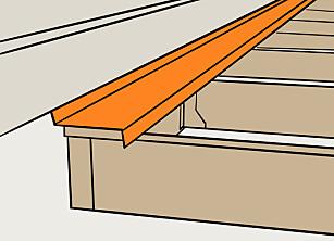 Beslag: Monterer du et beslag som stikkes under kledningen, og som går over det første bordet beskyttes den delen av konstruksjonen som er inntil veggen. Illustrasjon: Øivind Lie-Jacobsen
