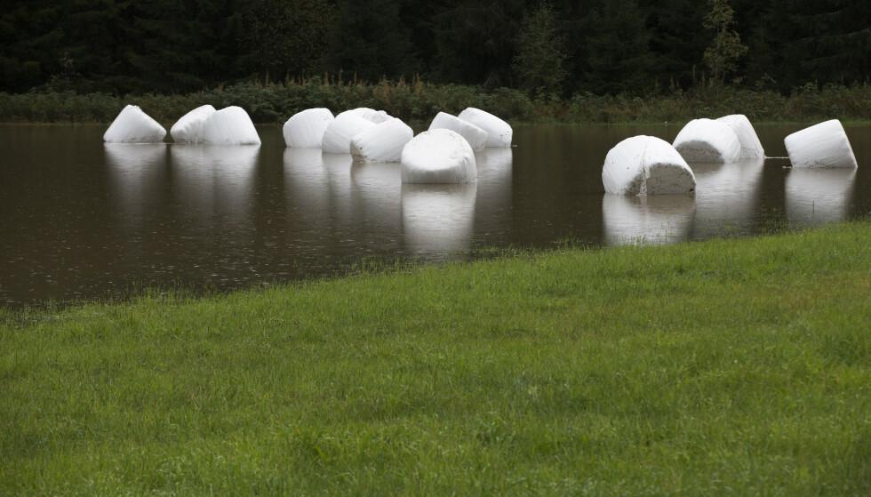 FRI FLYT: Rundballene flyter på Notodden etter store mengder regn i 2015. FOTO: Bendiksby, Terje / NTB scanpix.
