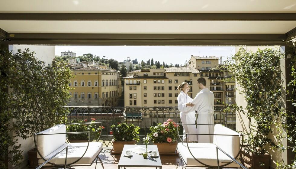 ROMANTIKK: Her på hotell Degli Orafi ble trippel Oscar-vinner «Et rom med utsikt» spilt inn i 1985. Foto: NTB Scanpix