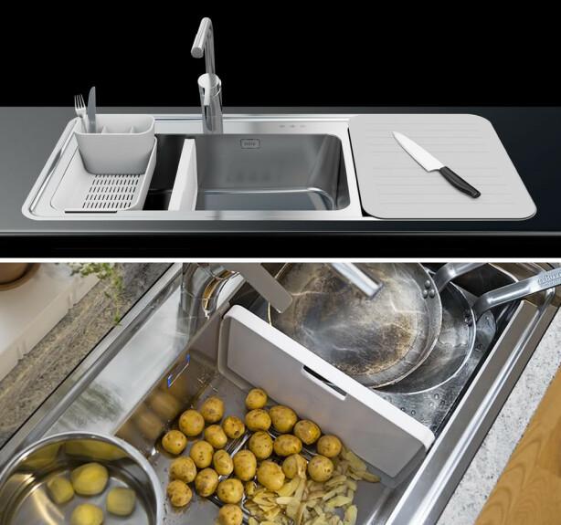 Fleksibel vask: Kjøkkenvask med fleksibel skillevegg. Produsent: Intra Priseksempel: kr 8.805, vvskomplett.no Foto: Produsenten