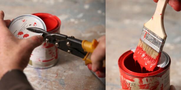 Smart lokk: Klipp av et gammelt lokk så kan du stryke av penselen uten å grise til boksen. Foto: Øivind Lie-Jacobsen