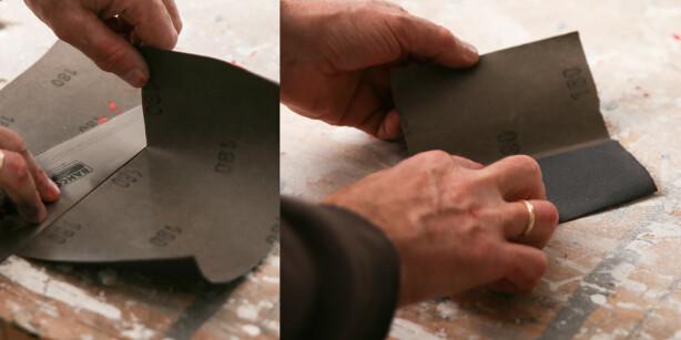Slipe for hånd: Brett papiret i tre like store deler. Foto: Øivind Lie- Jacobsen
