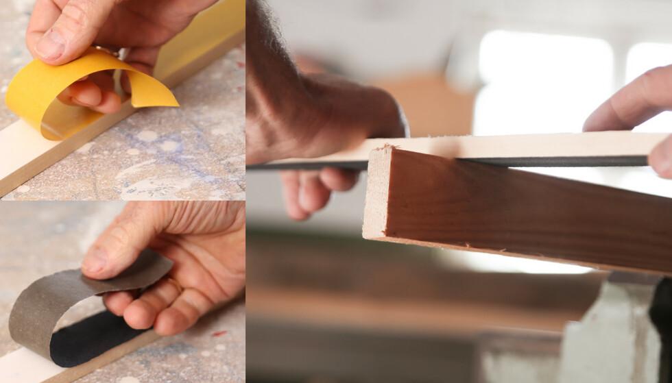 Slipestikke: Lim papiret på en plan bordbit. Foto: Øivind Lie- Jacobsen