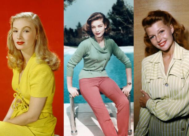 GIRL NEXT DOOR: Disse flotte, og sjeldent fargeglade bildene av Veronica Lake, Lauren Bacall og Rita Hayworth viser stilikonene i 40-tallets mer praktiske og avslappede look. Foto: Moviestore/REX/NTB Scanpix.