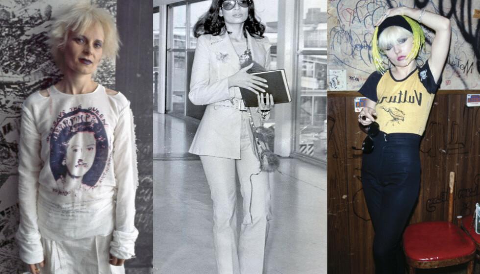 PUNK, DISCO OG HIPPIER: Vivienne Westwood, Bianca Jagger og Debbie Harry var tre sterke kvinner, som ikke var redde for å uttrykke sine personligheter og lidenskaper. Foto: Elisa Leonelli/Ray Brigden/Brad Elterman/REX/NTP Scanpix.