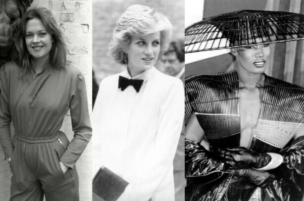 KARRIEREKVINNER I STERKE FARGER OG FORMER: I dag er det stort å tenke på hvor banebrytende Melanie Griffith, Prinsesse Diana og Grace Jones egentlig var på 80-tallet. Tre sterke ikoner for kvinner. Foto: Alan Davidson/James Gray/Daily Mail/Walter/Mediapunch/REX/NTB Scanpix.