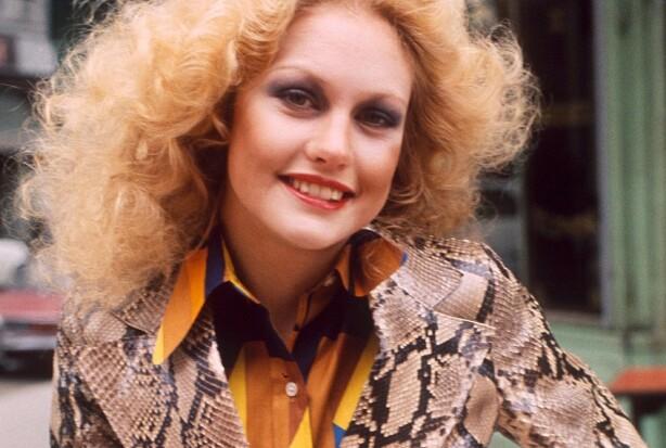 Miss World 1974, Anneline Kriel, i en soft disco-sminke fra 70-tallet. Foto: Gunnar Larsen/REX/NTB Scanpix.