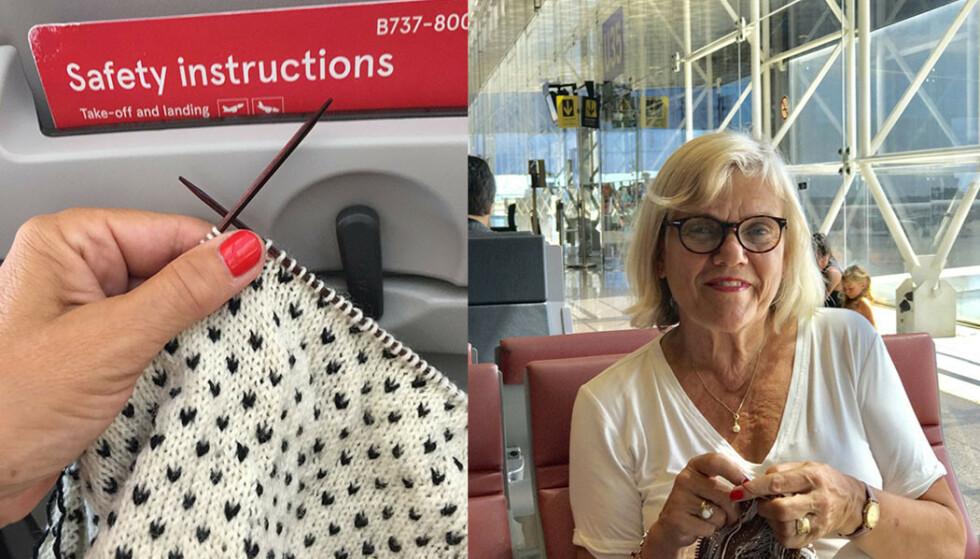 LOV ELLER IKKE LOV: Journalist Tone Solberg ble utsatt for en brysk kontrollør i Lisboa som raknet strikketøyet hennes. Foto: Privat