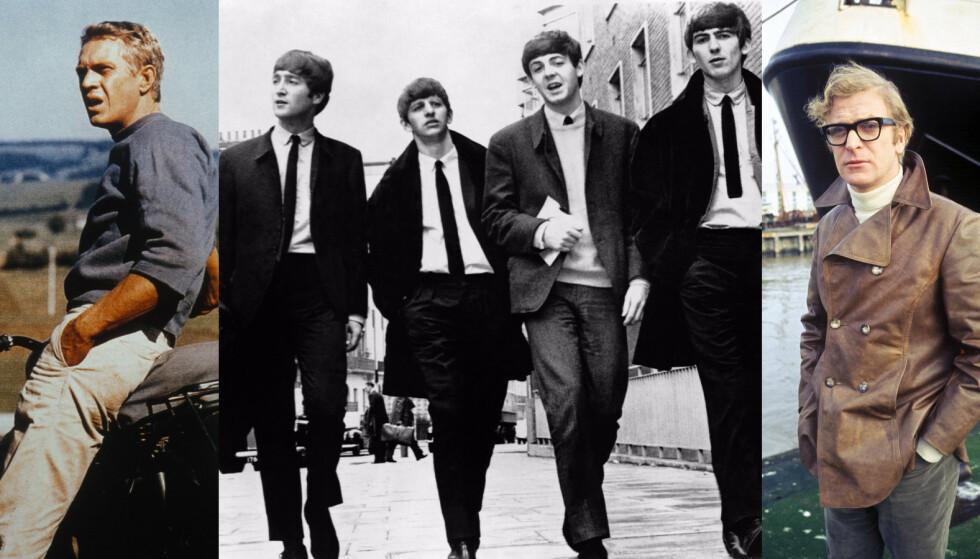 STILIKONER PÅ 60-TALLET: Steve McQueen, The Beatles og Michael Caine. Foto: Paramount/Kobal/REX/NTB Scanpix.